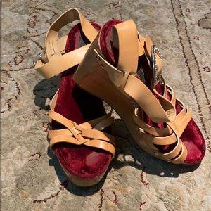 Dolce & Gabbana wood wedge sandals size 8